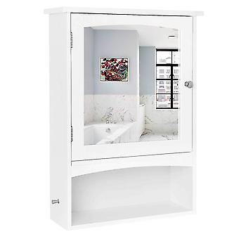 Armário da medicina com espelho e caixa aberta-branco
