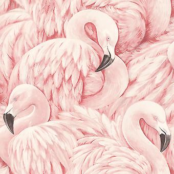 Lucy in the Sky Flamingo Wallpaper Soft Pink Rasch 803204