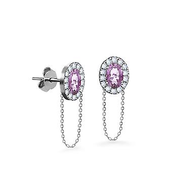 Earrings Princess Chain 18K Gold and Diamonds - White Gold, Amethyst