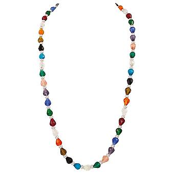 Eternal Collection Elegance Rainbow Multicoloured Crystal 32 Inch Long Silver Tone Necklace