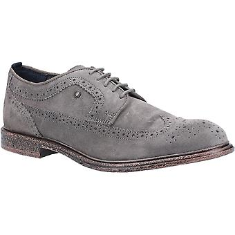 Basis Londen Mens Onyx Suede Lace Up Brogue Grey