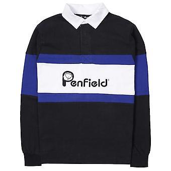 Penfield Cass Logo Black Rugby Shirt