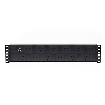 2Ru 12 Way Gpo Horizontal Pdu Recessed Rack Mount Power Rail