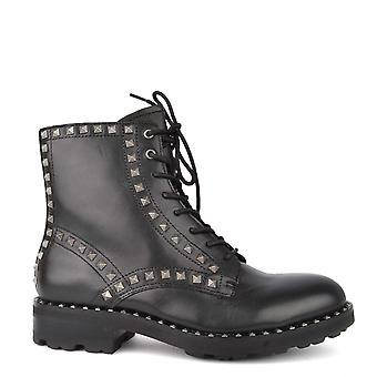 Ash Footwear Wolf Black Leather Studded Lace Up Boot