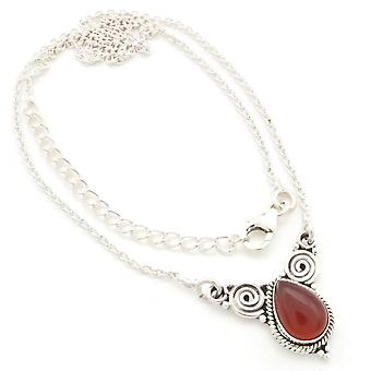 Carnelian necklace 925 silver sterling silver chain necklace orange red (MCO 09-16)