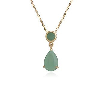 Classic Pear & Round Green Jade Pendant Necklace in 9ct Yellow Gold 186P0188109