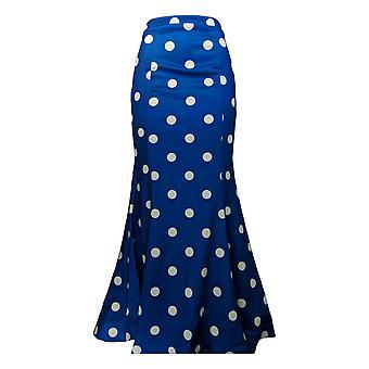 Masseys Skirt Fishtail Polka Dots Maxi Cobalt Blue / White