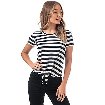 Women's Only Arli Knot Striped T-Shirt in White