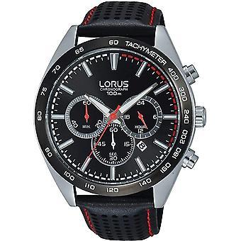 Lorus RT307GX-9 Black Leather Chronograph Wristwatch