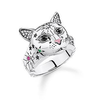 Thomas Sabo Sterling Silver Sterling Silver Multicoloured Magic Cat Ring TR2290-340-7