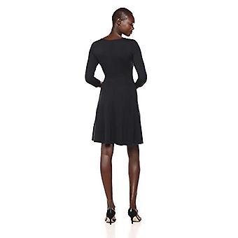 Märke - Lark & Ro Women&s Three Quarter Sleeve V-Neck Fit and Flare Dress, Svart, Medium