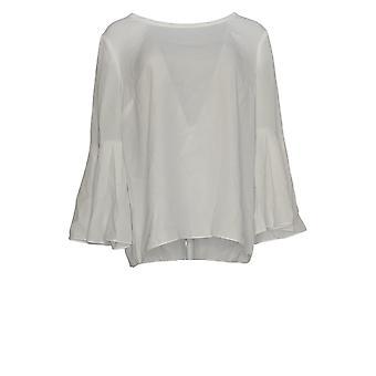 Masseys Women's Top Blouse w/ Long Bell Sleeve Wit