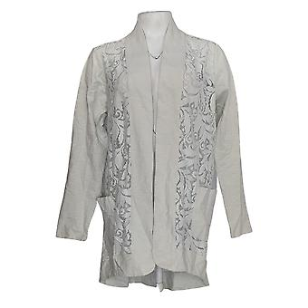 LOGO door Lori Goldstein Women's Sweater Open Front Cardigan Grey A274095