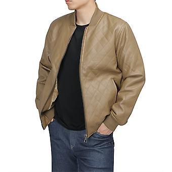 Allthemen Men's Stylish Handsome Plus Velvet Zipper Leather Jacket
