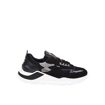 D.a.t.e. M331fgmebk Men's Black Leather Sneakers