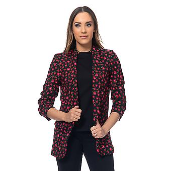 Flower print jacket with pockets and ruched sleeves