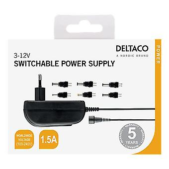 DELTACO AC adapter 110-240V tot 3-12V DC, 1.5A, verwisselbare connectoren