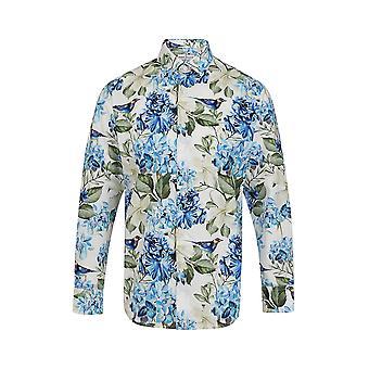Jenson Samuel White & Blue Flower Floral Printed Regular Fit Cotton Shirt