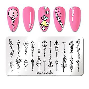 Stainless Steel Nail Art Geometric Design Stamping Plate Flower Image Print Template
