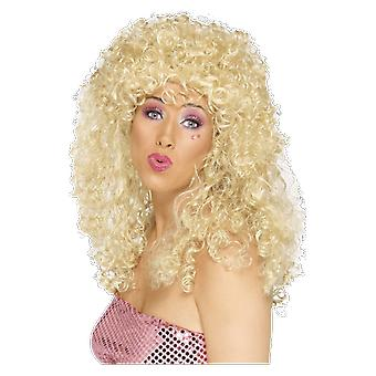 Womens 70s Long Blonde Curly Wig Fancy Dress Costume Accessory