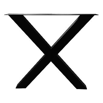 Musta X pöytäjalka 72 cm asetettuja jalkoja (putki 8 x 8) (1 kpl)