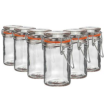 Argon Tableware Glass Spice Jars with Airtight Clip Lid - 70ml Set - Orange Seal - Pack of 6