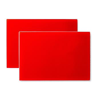 Glass Placemats Set | 30 x 20cm - Red | Non Slip Tempered Dining Table Mats