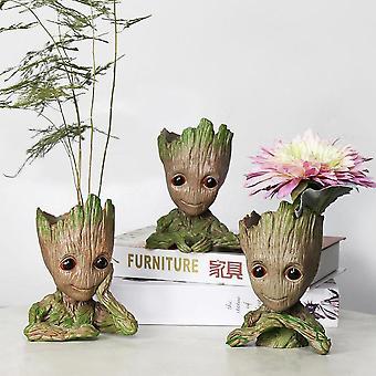 Vauvan groot, kukka ruukku istuttaja figurines puu mies malli