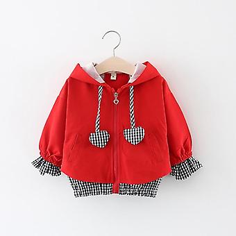 Children Hooded Zipper Windbreaker Baby Heart Shape Plaid Coat Infant Outerwear Hoodies For Girl