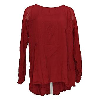 DG2 por Diane Gilman Women's Top Bordad Sheer Shoulder Red 654-871
