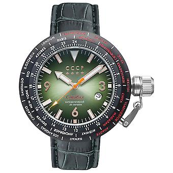Russia timezone s cp-7053-04 Watch for Analog Quartz Men with Cowhide Bracelet CP-7053-04