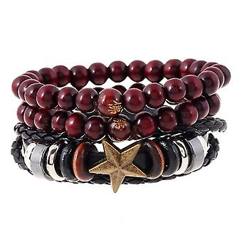 Retro Cowhide Hemp Multiplayer Leather Bracelet Wood Beads Star Men's Wristhand