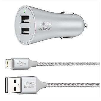 Belkin 2 Port Car Charger with 1.5 Metre Braided Charge Sync Lightning Cable