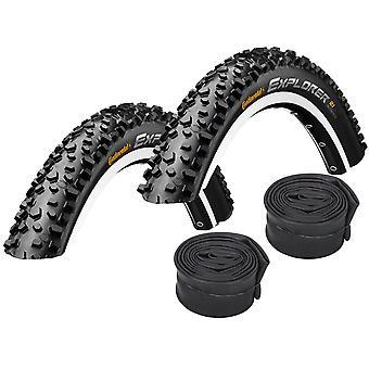 "Velo.Set 2 x Continental Explorer MTB Tires = 54-559 (26×2.1"") + Hoses"