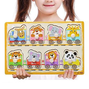Hand Grab Board Puzzle Wooden For - Cartoon Animal Fruit Wood Jigsaw Kids Baby