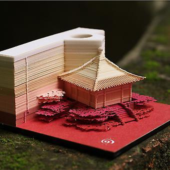 3D kiinalainen tyyli arch paviljonki paperimerkki malli muistio pad lahja laatikko muistilappu kirjanmerkki yritys salaperäinen lahja