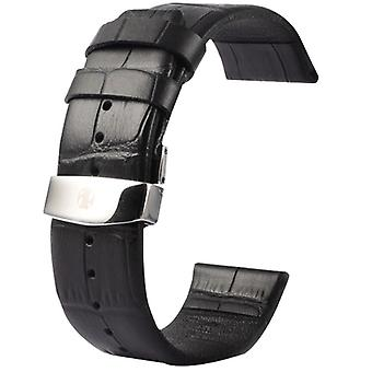 Kakapi for Apple Watch 38mm Crocodile Texture Double Buckle Genuine Leather Watchband, Only Used in Conjunction with Connectors (S-AW-3291)(Black)
