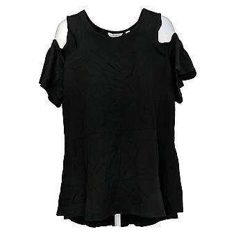 Isaac Mizrahi Live! Frauen's Plus Top kalte Schulter Peplum Schwarz A303176