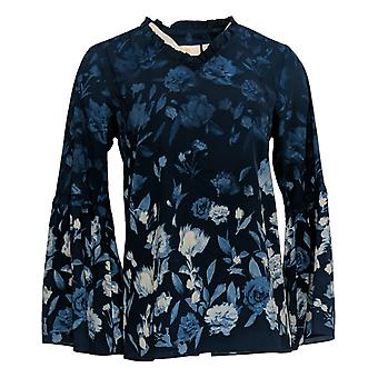 Belle de Kim Gravel Women's Top Ruffle V-Neck Shadow Print Blue A343377