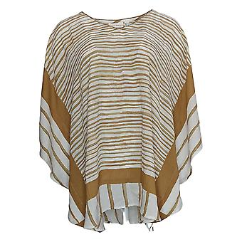 Susan Graver Women's Top Stripped Print Woven Scarf V Neck Brown A376590