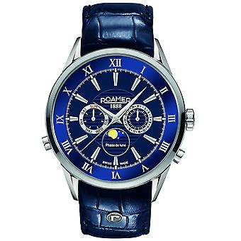 Roamer 508821 41 43 05 Superior Moonphase Blue Dial Wristwatch