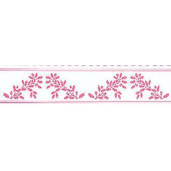 Dolls House Pink On White Acorns Wallpaper Border William Morris