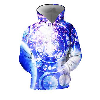 Mens 3d Colorful Galaxy Printed Cobalt Hoodies With Pockets