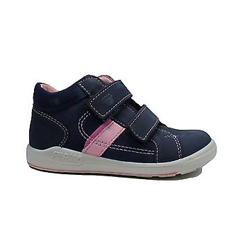 Ricosta Laif 2420100-183 Navy/Rose Nubuck Leather Girls Rip Tape Ankle Boots