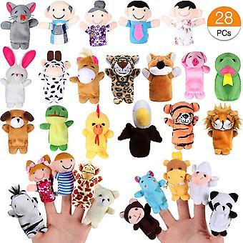 Joinfun 28pcs ujj bábok meg a gyerekek 22db állat kézi báb játékok 6pcs emberek családtagok p