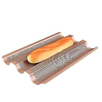 Baguette Tray With Non-stick Coating For 3 Baguettes