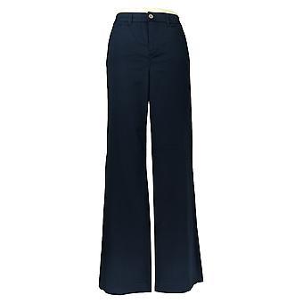 Martha Stewart Women's Pants Regular Chino Wide Leg Fly Front Blue A307837