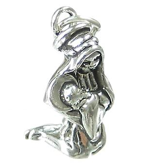 Madonna And Child Sterling Silver Charm .925 X 1 Jesus Holy Charms - 1155