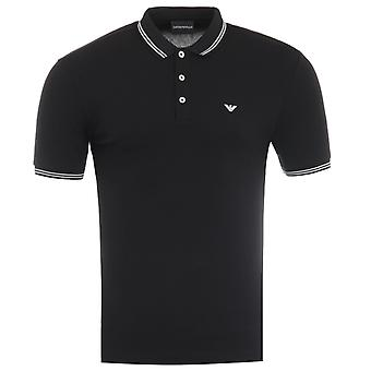 Emporio Armani Tipped Polo Shirt - Black