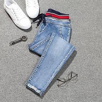 Stretch Jeans, Plus Size Lace Up Pants Femmes, Denim taille large, Patch élastique